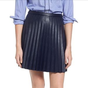 J. Crew Pleated Faux Leather Mini Skirt